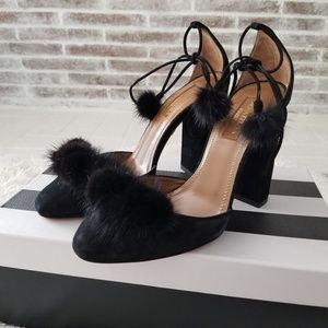 AQUAZZURA Wild Russian Mink Fur Pump Black